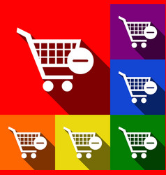 Shopping cart with remove sign set vector
