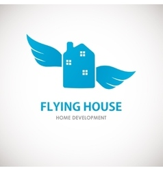 Small blue house with wings vector image