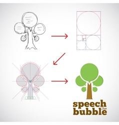 Speech Bubble Tree Abstract Logo Template from vector image