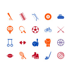 Sport icon signs and symbols color line set vector