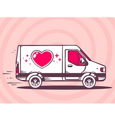 Van with heart free and fast delivery to vector