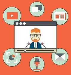 Webinar - kind of web conferencing holding online vector