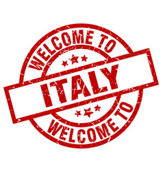 Welcome to italy red stamp vector