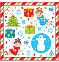Scrapbook elements with with christmas and new-yea vector image