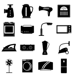 Household appliances icons set simple style vector