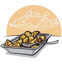 Roasted potatoes vector