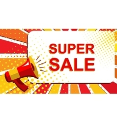 Megaphone with super sale announcement flat style vector