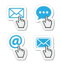 Contact buttons set with cursor hand icon vector