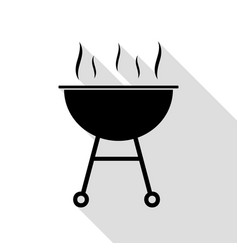 Barbecue simple sign black icon with flat style vector