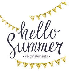 Hello summer modern hand drawn lettering vector