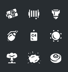 Set of explosive icons vector
