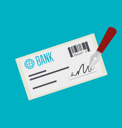 bank check payment isolated vector image