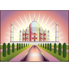 Landscape with taj mahal in india vector