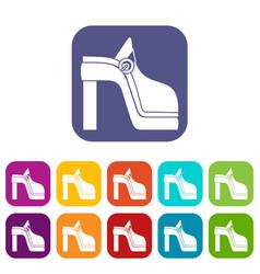women shoe icons set vector image
