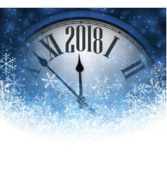 2018 new year background with clock vector image vector image