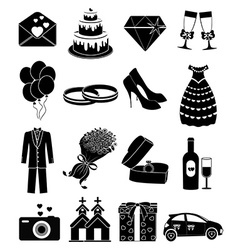 Wedding day icons set vector