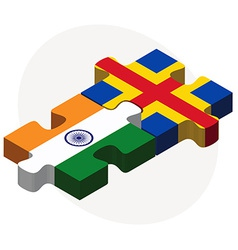 India and aaland islands flags in puzzle vector