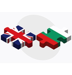 United kingdom and bulgaria flags in puzzle vector