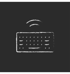 Cordless keyboard drawn in chalk vector