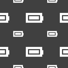 Battery fully charged icon sign seamless pattern vector