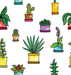 Pattern with flowers in pots vector