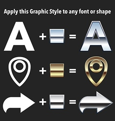 Chrome and gold graphic styles vector