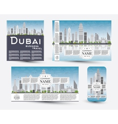 Corporate identity templates set with dubai vector