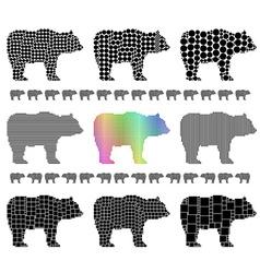 Bear silhouette mosaic set vector