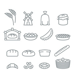 Bakery line icons bread and baguette food of dough vector