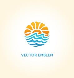 Abstract logo design template - sun and sea vector