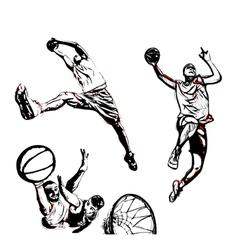 basketball trio vector image vector image