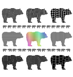 Bear silhouette mosaic set vector