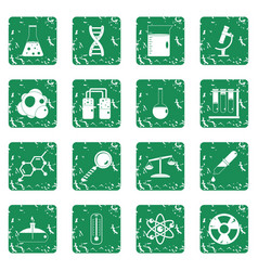 Chemical laboratory icons set grunge vector