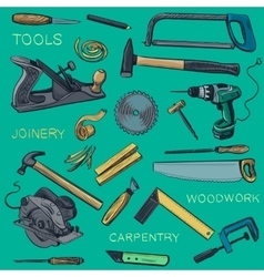 Collection of hand drawn Carpentry woodworker vector image vector image