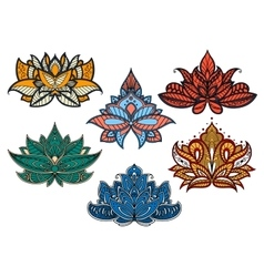 Colorful paisley flowers with indian motifs vector
