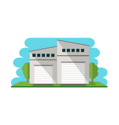 Commercial warehouse building isolated icon vector
