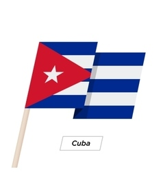 Cuba Ribbon Waving Flag Isolated on White vector image