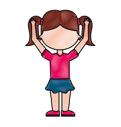 cute little girl student with hands up vector image