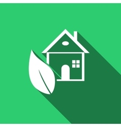 Eco House icon with long shadow vector image vector image