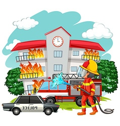 Fire fighter at fire scene vector