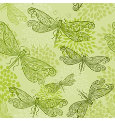 Flying green dragonflies vector