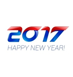 Happy new year 2017 text design blue and red vector image vector image
