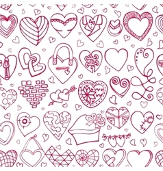 Hearts hand drawing doodlesColored seamless vector image vector image