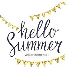 Hello summer modern hand drawn lettering vector