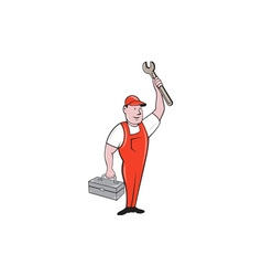 Mechanic raising wrench holding toolbox cartoon vector