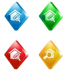 Real estate glass transparent icon set vector