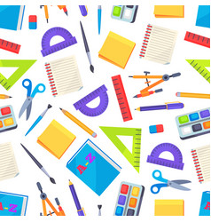 seamless pattern with stationery objects isolated vector image