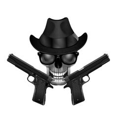 Skull with hat and pistols vector image vector image
