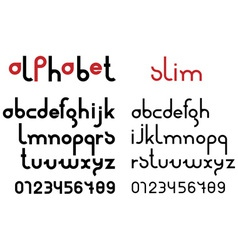 Slim black font and numbers vector