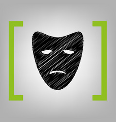 Tragedy theatrical masks black scribble vector